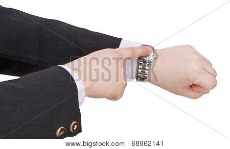Businessman Show Current Time On Watch
