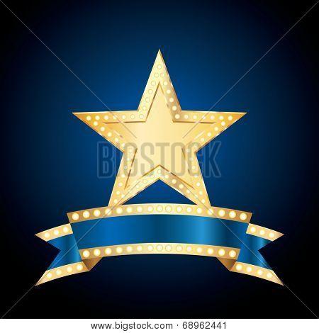vector golden bulb star with blank blue bulb banner