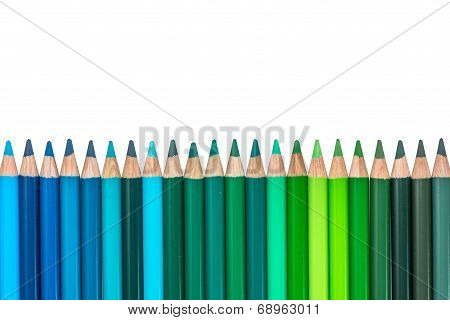 Row with Blue and Green Colored Crayons