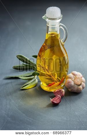 Herb-infused olive oil with garlic