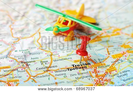 Treviso  Italy Map Airplane