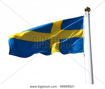 Sweden flag flying in the wind isolated on white with clipping path