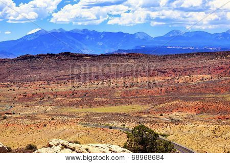 Painted Desert Yellow Grass Lands Orange Sandstone La Salle Mountains Arches National Park Moab Utah