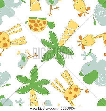 Cute Jungle Animals In A Seamless Pattern