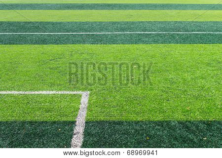 White Goal Line Of Football Field