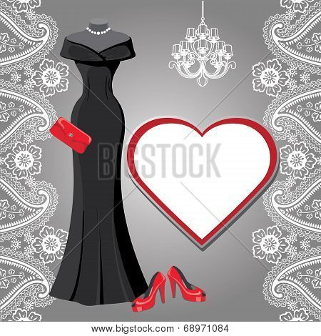 Black party dress with chandelier,label,paisley border
