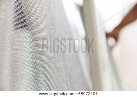 close up of mosquito net and window background