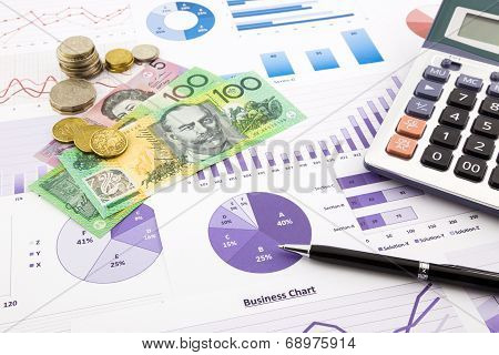 Australia Currency On Graphs, Financial Planning And Expense Report Background