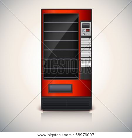 Vending Machine with shelves, red coloor.
