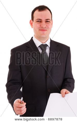 Smiling Businessman Offer Sign Paper