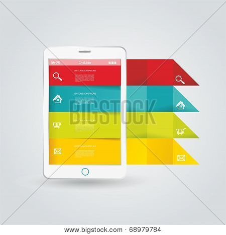 Touch Screen Smartphone With Modern Infographic
