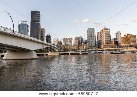 Brisbane cityscape and Victoria bridge over the Brisbane river