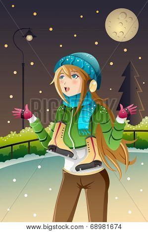 Girl Playing Ice Skating