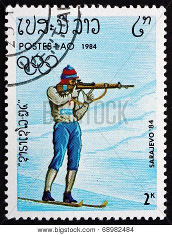 Postage Stamp Laos 1984 Biathlon