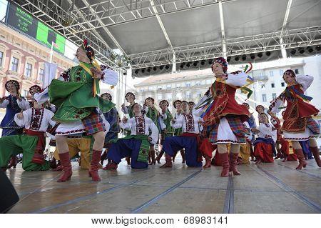 ZAGREB, CROATIA - JULY 17: Members of folk group Edmonton (Alberta), Ukrainian dancers Viter from Canada during the 48th International Folklore Festival in center of Zagreb,Croatia on July 17, 2014