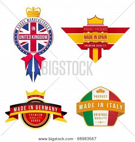 set of made in united kingdom germany spain italy badges