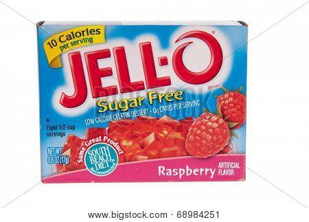 Hayward, CA - July 24, 2014: Jello brand sugar free gelatin in raspberry flavor
