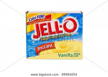 Hayward, CA - July 24, 2014: Jello brand gelatin, vanilla flavored