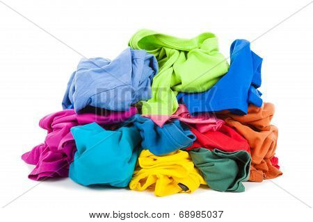 A Pile Of Colorful Clothes On The Floor