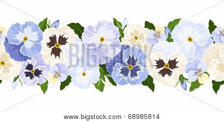 Horizontal seamless background with blue and white pansy flowers. Vector illustration.