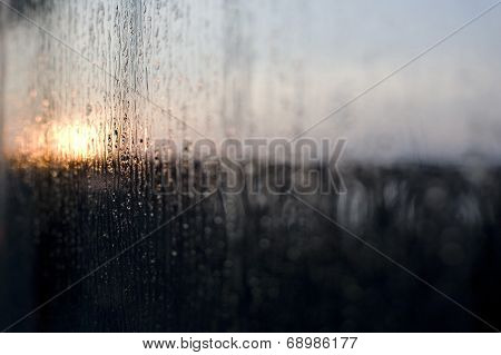 Rain On Window At Dawn