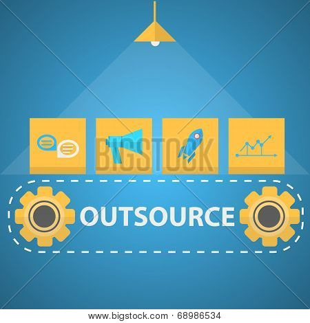 Flat vector illustration of outsourced mechanism