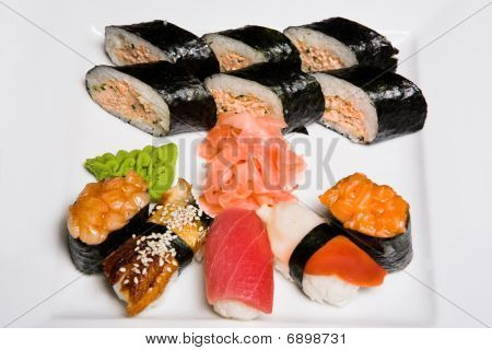 Rolls and sushi