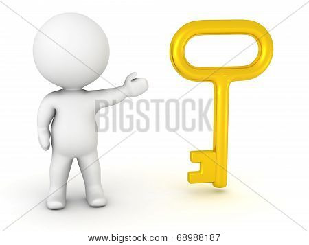 3D Character showing Large Key