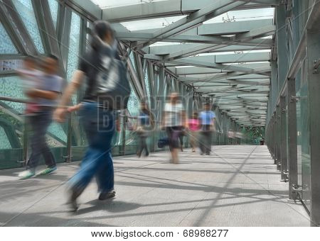 People on footbridge