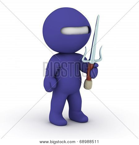 3D Character ninja with sai sword