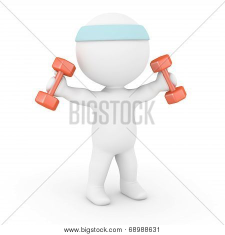 3D Character Working Out with Weights