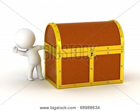 3D Character Waving from behind Treasure Chest