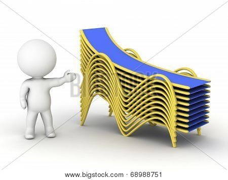 3D character showing stack of beach chairs