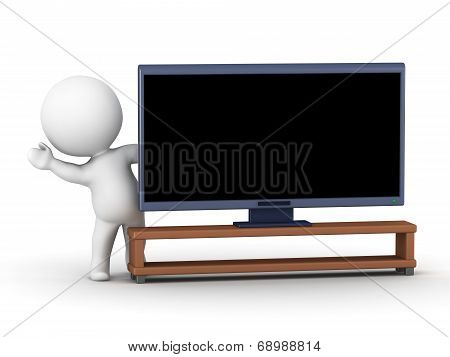 3D Character waving from behind generic HDTV