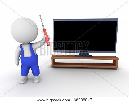 3D Character repairman and HDTV