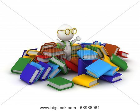 3D Character with School Bag and Books