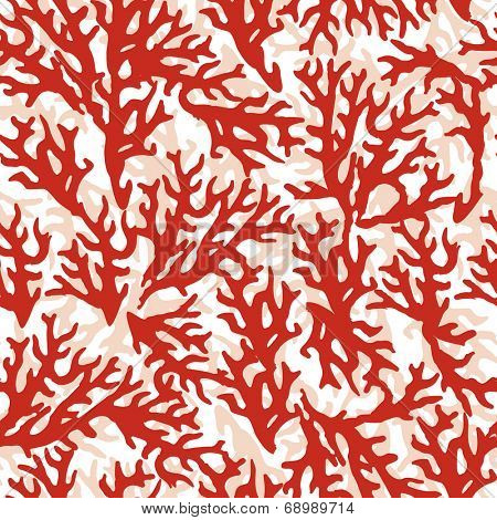 Vector seamless pattern with red coral. Good for textile, wallpapers, paper for art and craft.