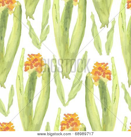 Seamless background of watercolor glad flowers. Vector illustration.