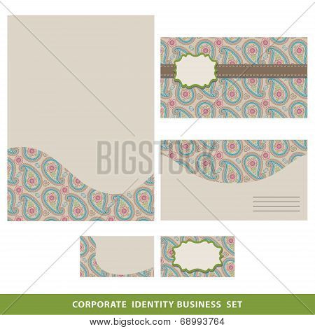 Corporate Identity Business Set Design.oriental Paisley Pattern