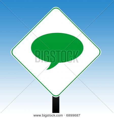 Speech Bubble Road Sign