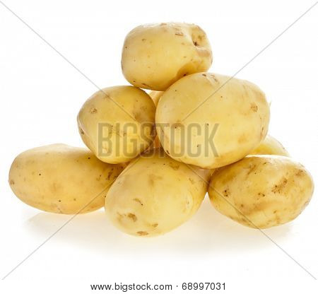 skinless young potato tuber isolated on white background cutout