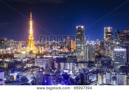 Tokyo, Japan skyline at night.