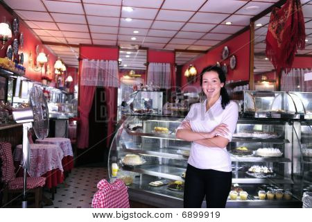 Proud And Confident Owner Of A Small Pastry Store/ cafe