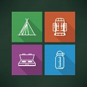 foto of tipi  - 4 icons in relations to summer outdoor activity pictured here from left to right top to bottom - 