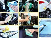 stock photo of wiper  - Washing car collage - JPG