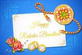 image of rakhi  - vector illustration of beautiful rakhi on Raksha Bandhan letter - JPG