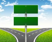 stock photo of crossroads  - Crossroads road sign - JPG