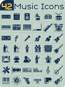 stock photo of drum-set  - Music themed icons of studio equipment - JPG