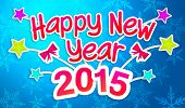 pic of pop star  - Blue Happy New Year 2015 Greeting Art Paper Card - JPG