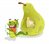 image of caterpillar cartoon  - pear with caterpillar cartoon holding a spoon and fork - JPG